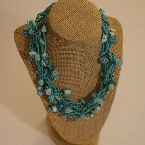 """Jewelry - Necklace  Multi Strand  Blue  Faux Turquoise 18"""""""